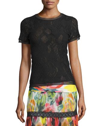 Short-Sleeve Crochet Top, Black