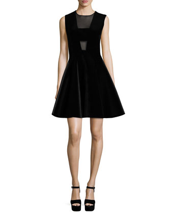 Sleeveless Fit-&-Flare Dress W/Mesh Inset, Black