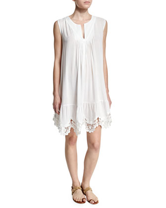 Splice & Dice Lace-Hem Coverup Dress