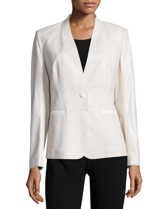 Clary One-Button Combo Jacket, Oyster