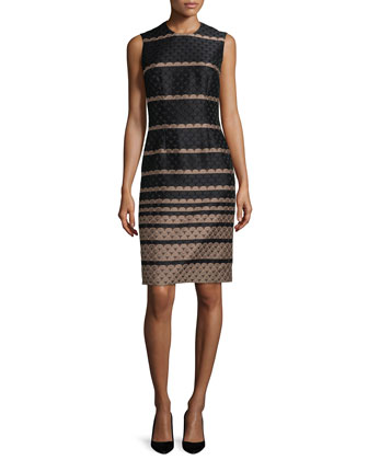Sleeveless Jacquard Sheath Dress