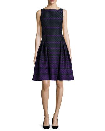 Sleeveless Striped Polka-Dot Dress