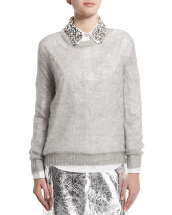 Foil Speckled Open-Knit Pullover