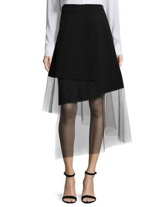 High-Rise Midi Skirt W/Mesh Hem, Black