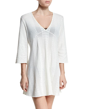 Crochet A-Line Tunic Coverup, Ivory