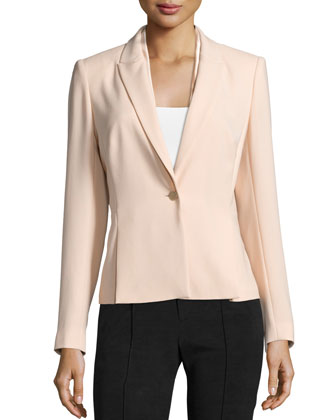 Jalena One-Button Jacket, Peach Sorbet
