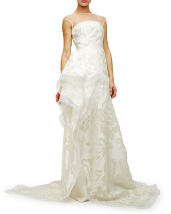 Embellished-Yoke Organza Gown, Ivory