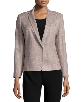 Shyla One-Button Jacket, Hickory/Multi
