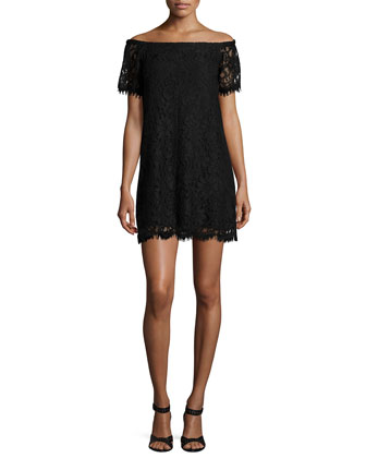 Off-The-Shoulder Lace Dress, Black