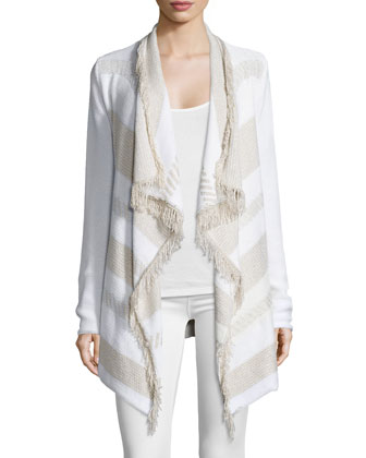 Long-Sleeve Cardigan W/Fringe, Cream