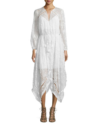 Hanna Embroidered Dress with Fringe-Trim