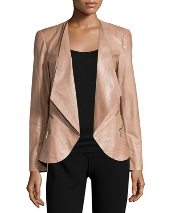 Becca Open-Front Leather Jacket, Hickory