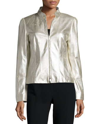 Landry Zip-Front Leather Jacket, Pale Gold