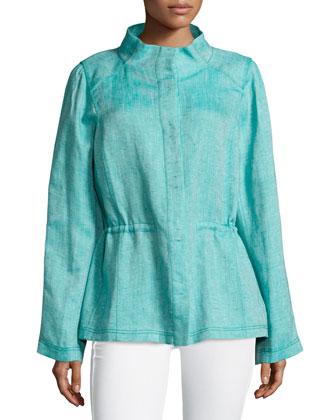 Long-Sleeve Cinched-Waist Topper Jacket, Botanic/Multi
