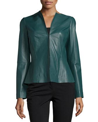 Liv V-Neck Leather Jacket, Hemlock