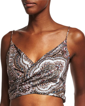 Epoque Paisley-Print Wrap Top & Lounge Pants