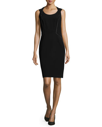 Fianna Sleeveless Sheath Dress, Black