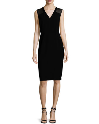 Jillesa Sleeveless Combo Sheath Dress, Black