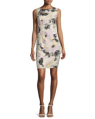Evelyn Floral-Print Sheath Dress, Ash/Multi