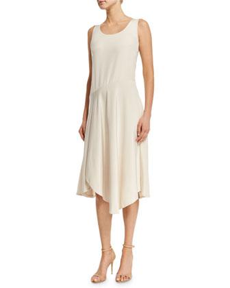 Evalyn Sleeveless Round-Neck Dress, Raffia