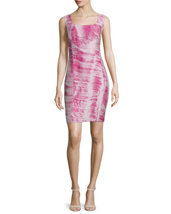 Carol Sleeveless Sheath Dress, Fuchsia/Multi