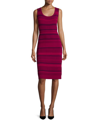 Vanise Striped Sheath Dress, Wildflower/Multi