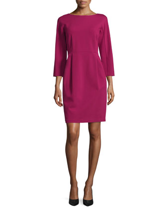 3/4-Sleeve Bateau-Neck Sheath Dress, Wildflower