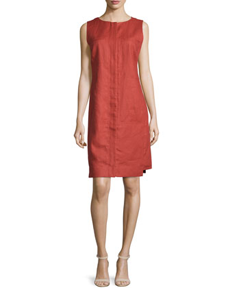 Mira Sleeveless Shift Dress, Chili Red