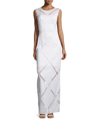 Sleeveless Grid-Print Column Gown, White