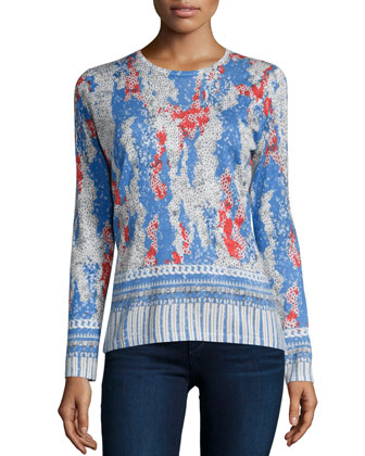 Sequin Charm Printed Cashmere Sweater