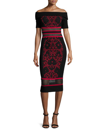 Off-The-Shoulder Print Sheath Dress, Red/Black