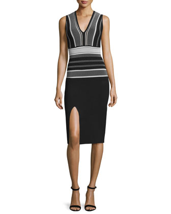 Sleeveless V-Neck Colorblock Sheath Dress