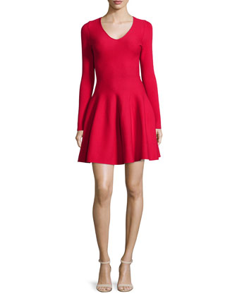Long-Sleeve Fit-&-Flare Dress, Crimson Red