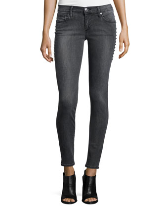 Casey Studded Low-Rise Skinny Jeans, Sterling Black