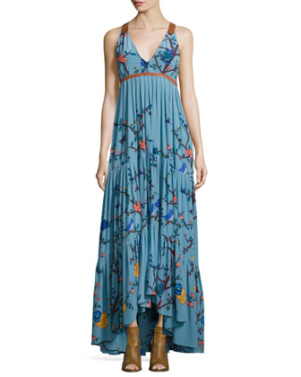 Sleeveless Tiered Botanical-Print Maxi Dress