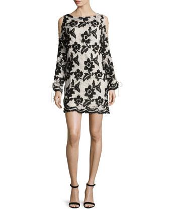 Long-Sleeve Cold-Shoulder Lace Shift Dress