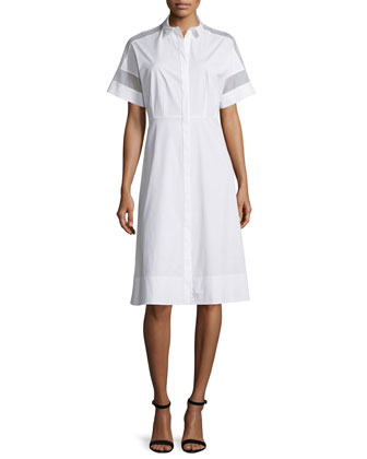 Galiana Short-Sleeve Shirtdress, White