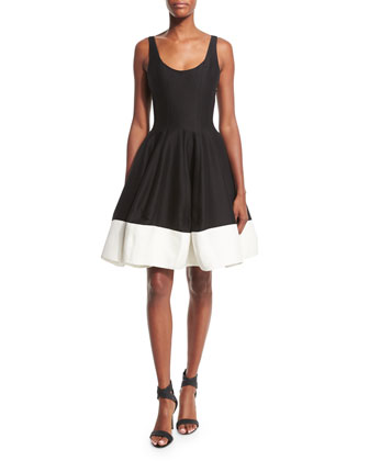 Sleeveless Scoop-Neck Colorblock Fit & Flare Dress, Black/Bone