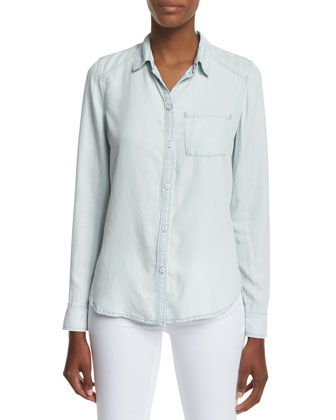 Tate Button-Front Chambray Shirt, Reese