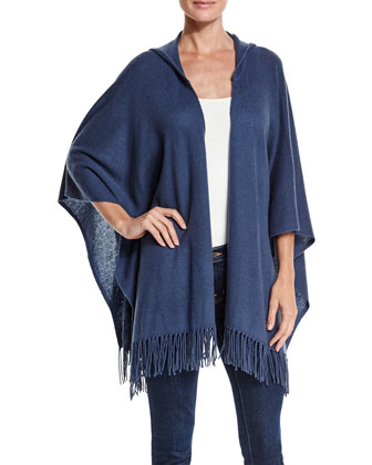 Hooded Cashmere Poncho with Fringe