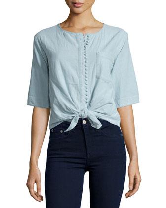 La Marguerite Tie-Waist Shirt, Constance Blue