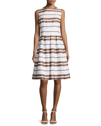 ZOE Zoe Sleeveless Striped Pleated Dress