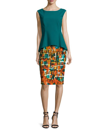 Penny Sleeveless Peplum Dress, Habanero/Multi