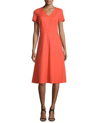 Manon Punto Milano Short-Sleeve Dress, Bonfire