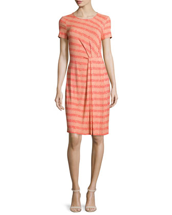 Short-Sleeve Pleated Sheath Dress, Bonfire/Multi