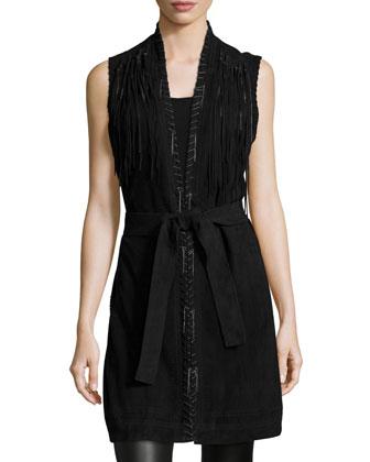 McKenzie Belted Suede Vest, Black