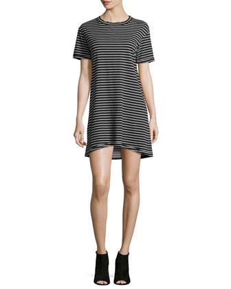 The Knit Tee Striped Dress, Black