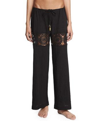 Black Sands Lace-Insert Gauze Coverup Pants
