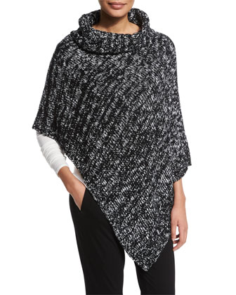 Funnel-Neck Marled Organic Cotton Poncho