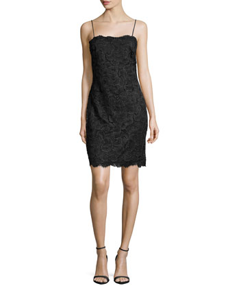Sleeveless Vintage Lace Dress, Black